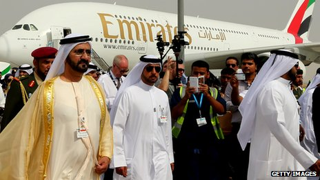 Sheikh Mohammed Bin Rashid al-Maktoum at the opening of Dubai airshow, with Airbus A380 in background