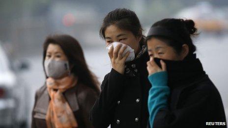 Chinese women in smog