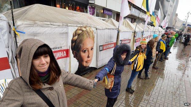 Tymoshenko supporters protesting in Kiev, 29 Nov 13