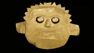 2,000-year-old golden funerary mask from Colombia
