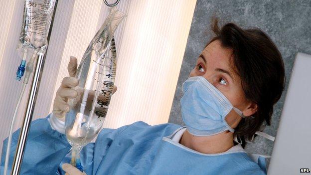 Nurse attending to drip