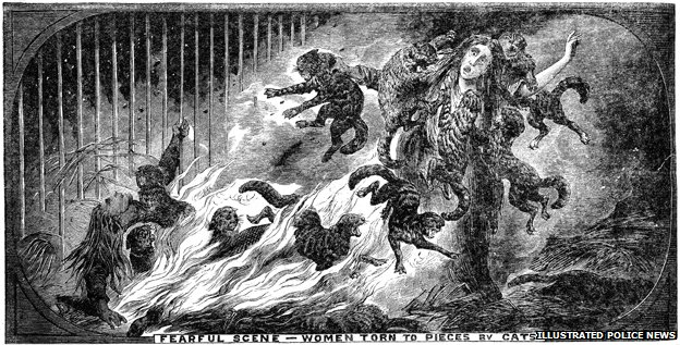 Women attacked by cats in a house fire. Picture: The British Library Board, Illustrated Police News, July 22, 1876