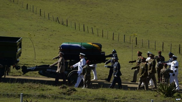 The coffin of Nelson Mandela on a gun carriage escorted by military honour guard