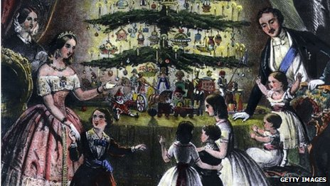 The Royal Christmas Tree is admired by Victoria, Albert and their children in 1848