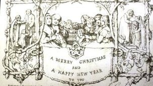 A copy of the first mass-produced Christmas card from 1843