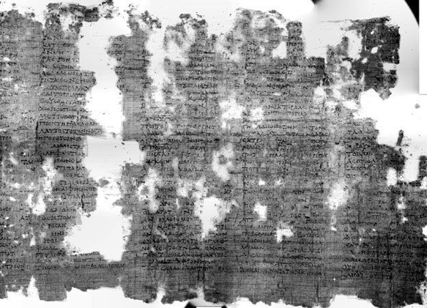Papyrus viewed with multispectral infrared light