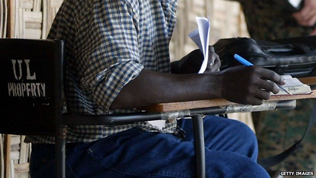 A student at a university in Liberia