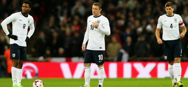 Daniel Welbeck, Wayne Rooney and Steven Gerrard on England duty (l-r)