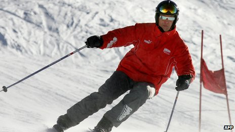 Photo dated January 14, 2005 shows German former Formula One driver Michael Schumacher skiing in the northern Italian resort of Madonna di Campiglio