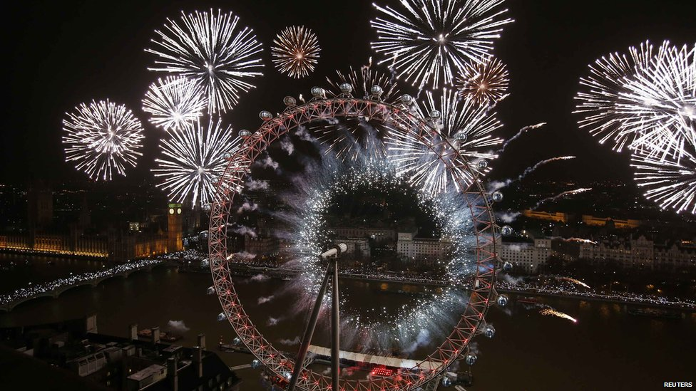 London Eye lit up by fireworks