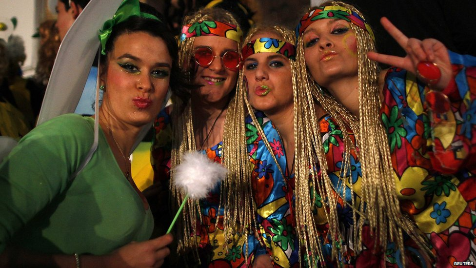 Revellers take part in new year celebrations in Coin, near the southern Spanish town of Malaga