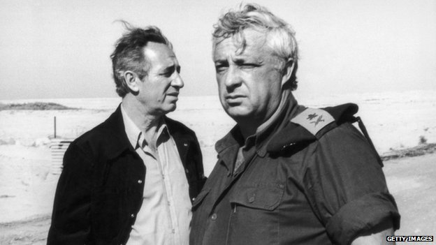 Ariel Sharon (R) with Shimon Peres in 1975 in Egypt