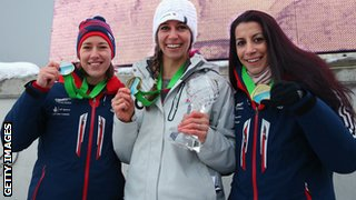 Lizzy Yarnold, Noelle Pikus-Pace and Shelley Rudman