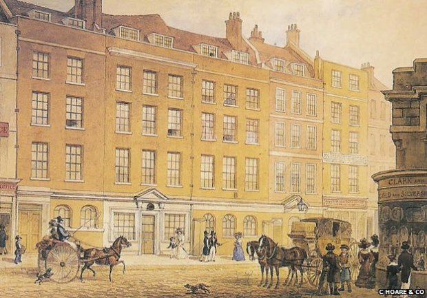A painting of the Fleet Street banking house dated 1829
