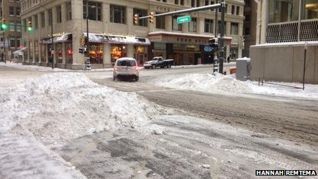 Snowy intersection