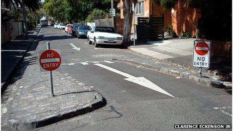 A neckdown in Melbourne, Australia