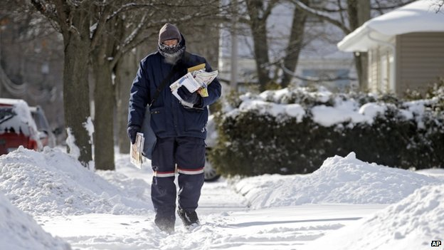 A postal worker delivered mail in subzero temperatures in Berea, Ohio, on 28 January 2014