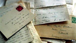 Letters written by poet Rupert Brooke during WW1