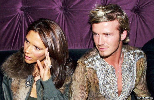 Victoria and David Beckham pictured in 2002