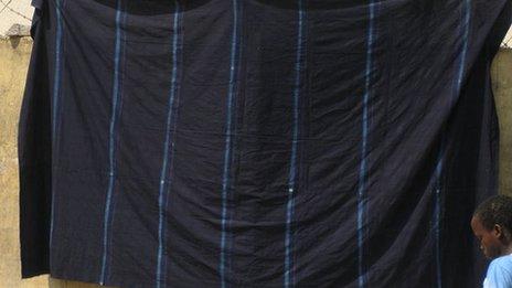 Indigo dyed cloth drying
