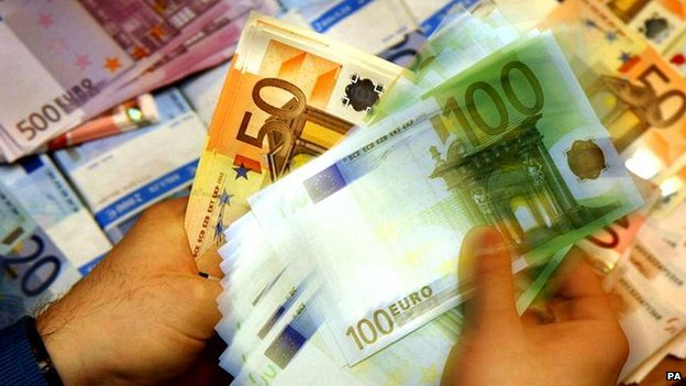 Euro notes being counted - file pic