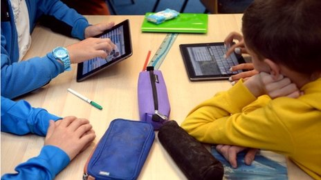 Children using tablets
