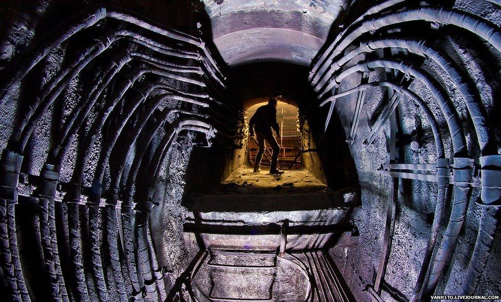 Man inside an underground passageway