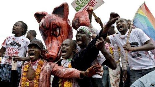 Protesters outside parliament in Nairobi, Kenya - June 2013