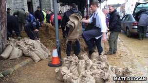 Sandbags being made in Chertsey Surrey