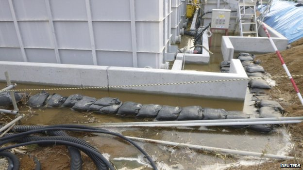 Highly contaminated water leaked from a large storage tank is seen at the H6 area of the contaminated water storage tanks, Fukushima nuclear plant, 20 February 2014