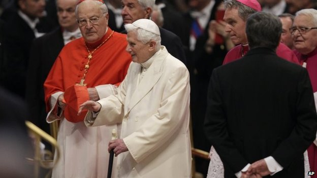 Pope Emeritus Benedict XVI arrives for the ceremony
