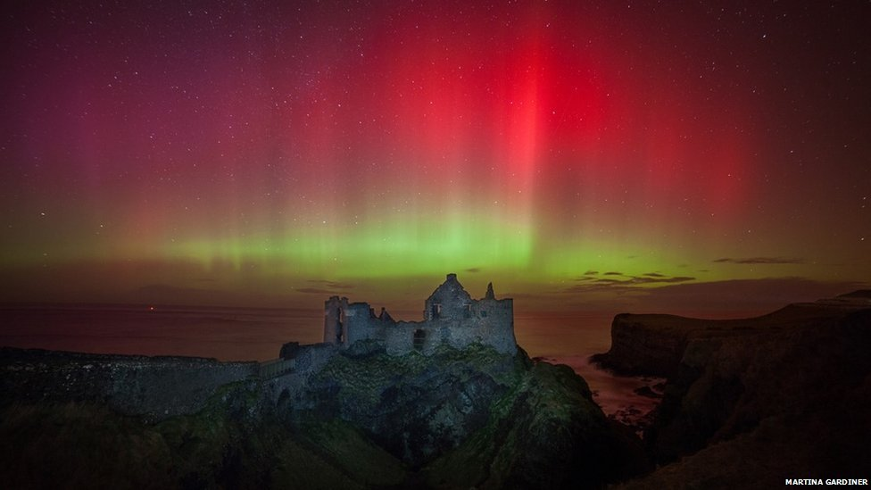 Aurora Borealis over Dunluce Castle in County Antrim