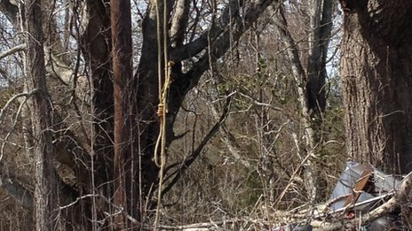 A noose hangs from a tree in Cheneyville, Louisana