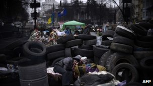 Barricades near Independence Square, Kiev. 3 March 2014