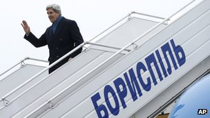 Secretary of State John Kerry arrives in Kiev, Ukraine, on 4 March 2014.
