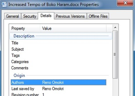 "A screen showing the properties of the Word document, where ""Reno Omokri"", is named as it's author"