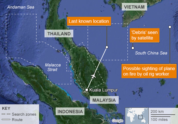 Map of disappearance of MH370