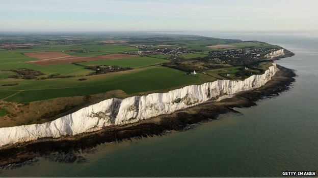 The white cliffs of Dover seen from the air