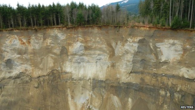 The hillside that gave way and collapsed near Oso. Photo: 22 March 2014