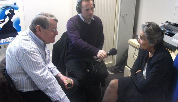 Dr Catherine Hill (right) with Denis Murray and Chris Page