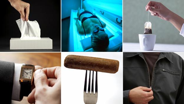 WW1 inventions (clockwise from top left): paper tissues; sun lamp; tea bag; zip; vegetarian sausage; wristwatch