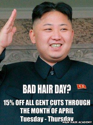 Poster of Kim Jong-un in the salon