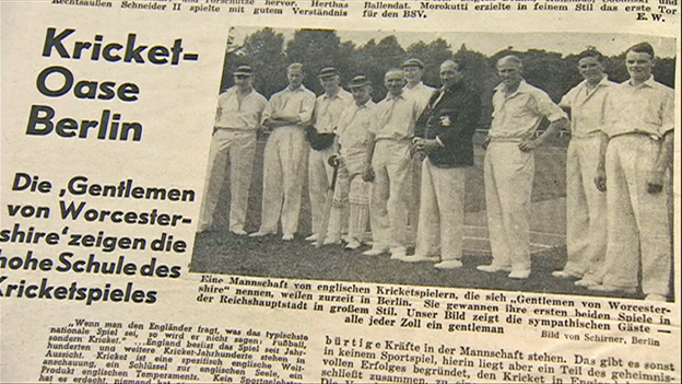 "German newspaper of the time advertising the tour by the ""gentlemen von Worcestershire"""