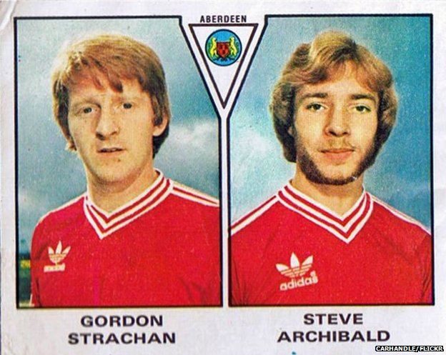 Panini stickers from 1996 showing Gordon Strachan and Steve Archibald