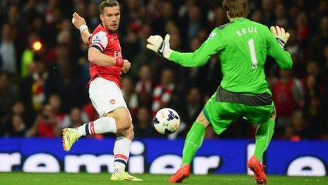 Lukas Podolski shoots