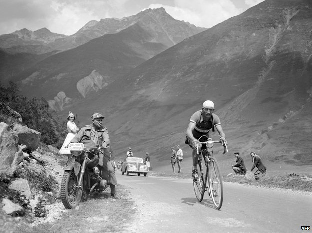 Gino Bartali competing in the Tour de France in 1938