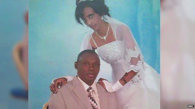 Meriam Yehya Ibrahim Ishag pictured on her wedding day with her husband