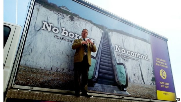 Nigel Farage launching a campaign poster last month