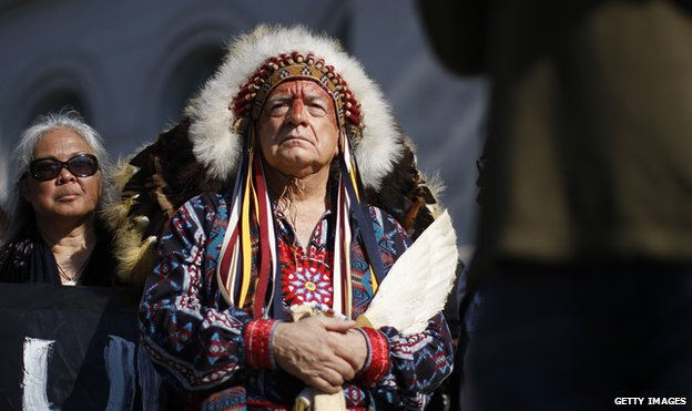 Chief Phil Lane of the Yankton Dakota and Chickasaw First Nations awaits his introduction to speak at a climate rally in Los Angeles