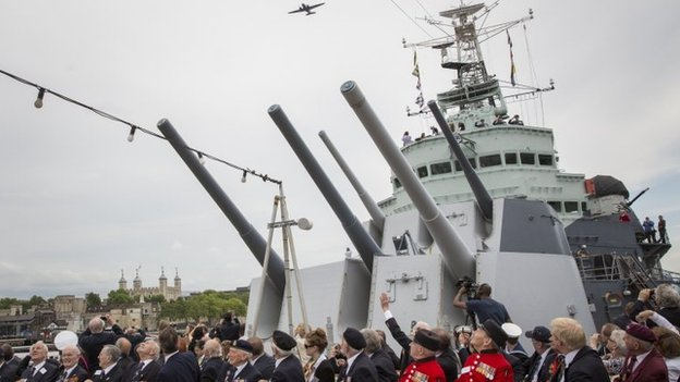 Flypast on HMS Belfast